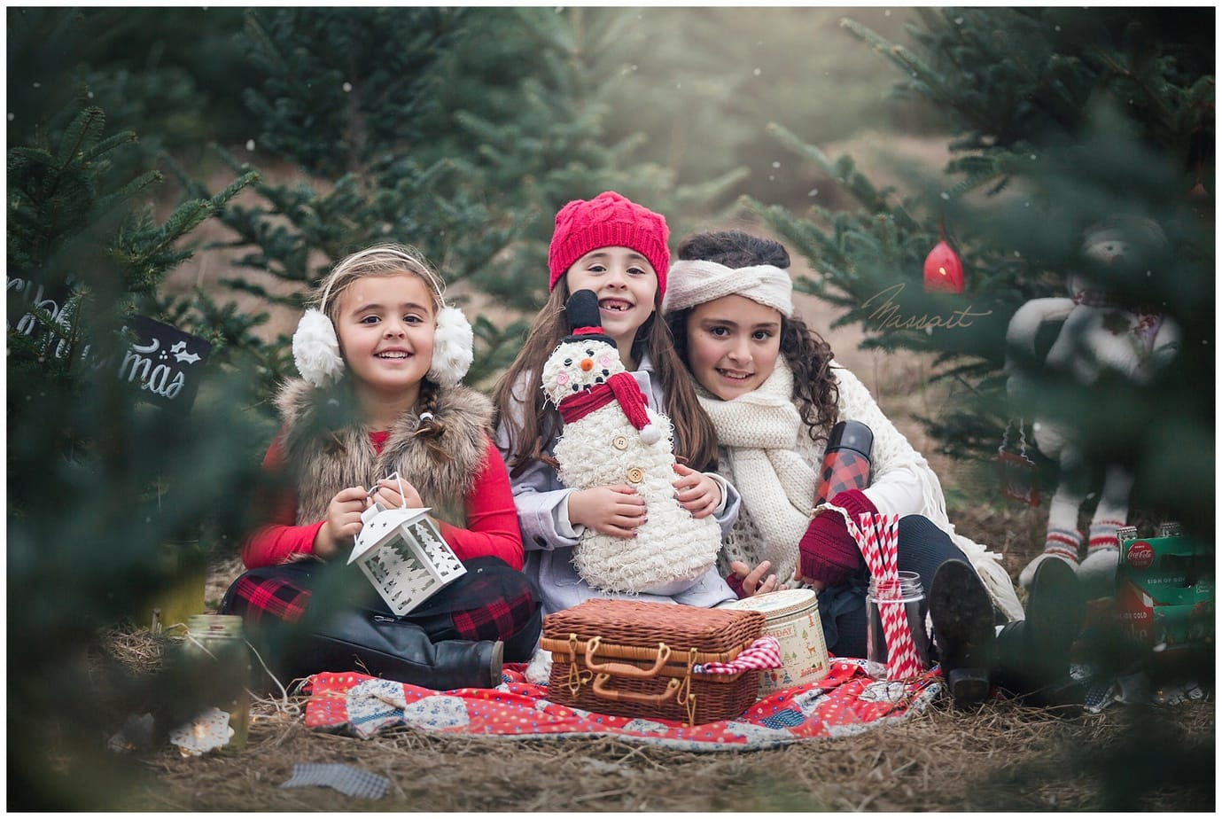little girls pose for their christmas holiday photo on a christmas tree farm in rhode island, ma, ct