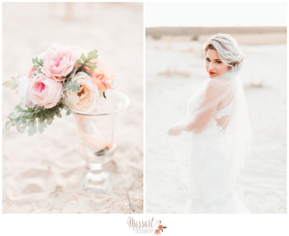 Bride and her bouquet photographed outside on the beach by Massart Photography RI MA CT