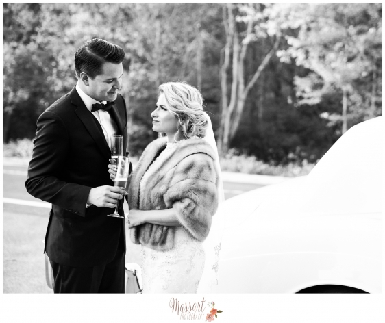Black and white outdoor photo of bride and groom by Rhode Island photographer of Massart Photography RI MA CT