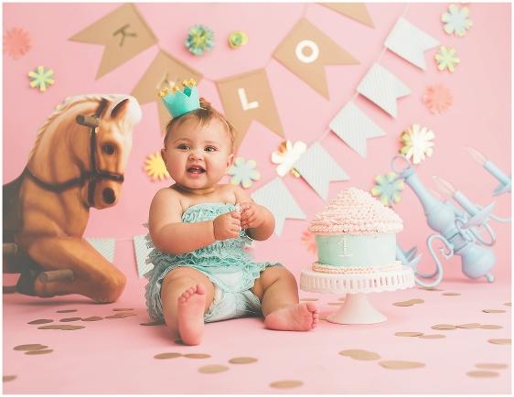 A vintage circus cake smash first birthday studio baby portrait with Rhode Island photographers of Massart Photography RI, CT, MA