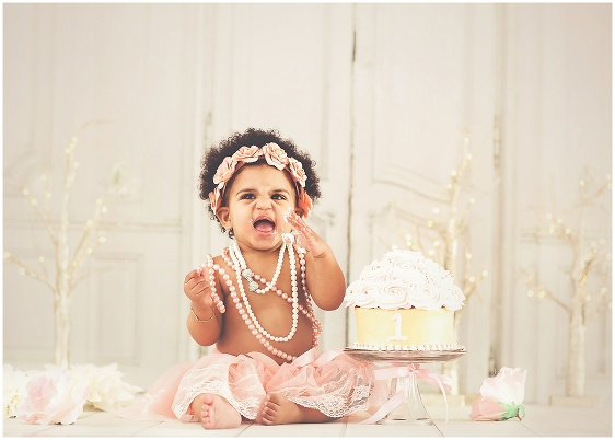 A vintage pink and gold sparkly cake smash first birthday studio baby portrait with Rhode Island photographers of Massart Photography RI, CT, MA