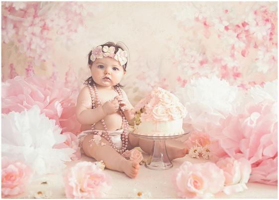 A vintage rose cake smash first birthday studio baby portrait with Rhode Island photographers of Massart Photography RI, CT, MA