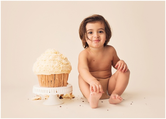 A neutral colors cake smash first birthday studio baby portrait with Rhode Island photographers of Massart Photography RI, CT, MA