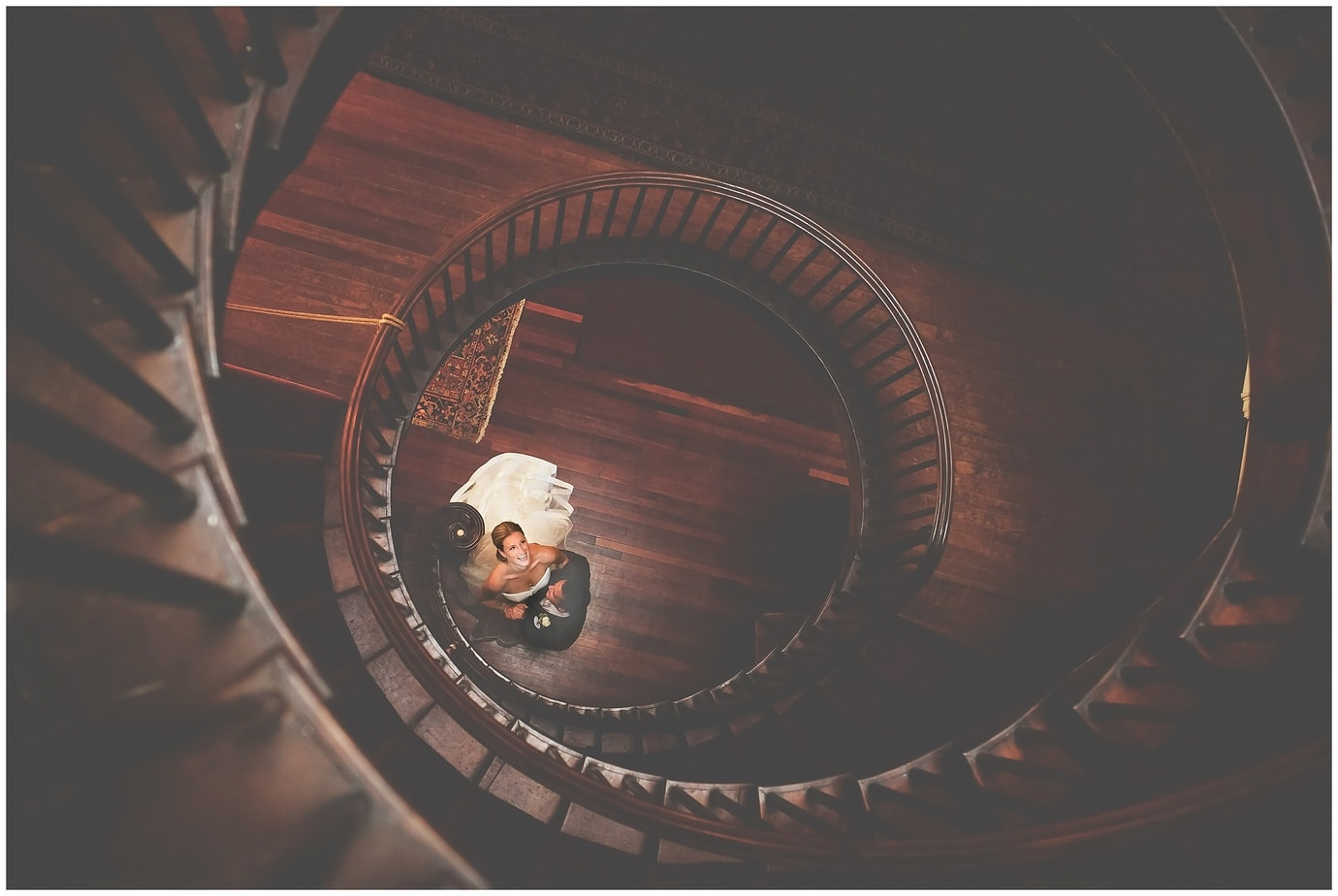 a linden place spiral staircase wedding portrait of the bride and groom with rhode island photographers of massart photography RI, CT, MA