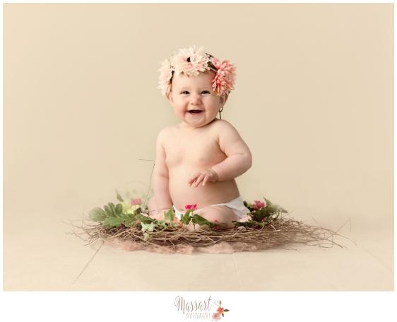 Baby with flower crown milestone studio portrait by Massart photographers in Rhode Island