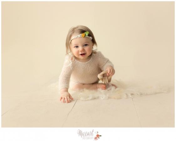 Simple timeless child milestone photo taken in studio by Rhode Island photographers at Massart Photography CT RI MA