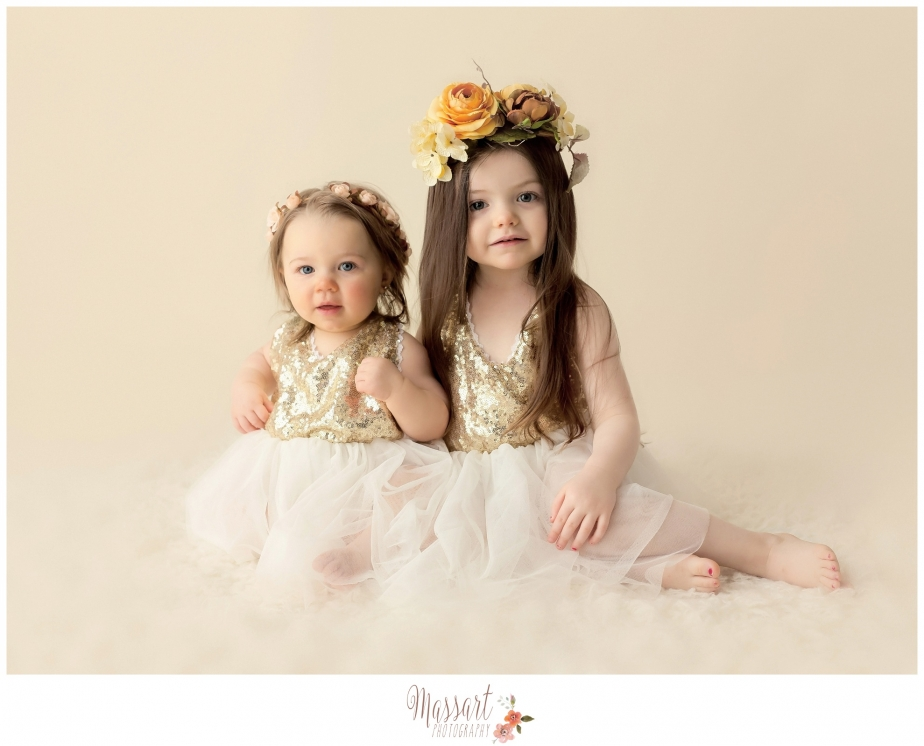 Vintage classic sibling portrait taken in studio by Rhode Island photographers at Massart Photography CT RI MA
