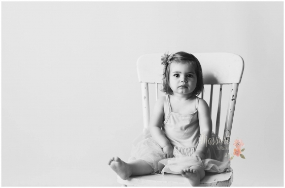 Simple timeless black and white child milestone photo taken in studio by Rhode Island photographers at Massart Photography CT RI MA