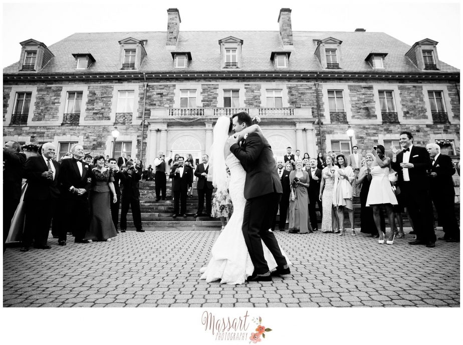 Black and white outdoor wedding photo of bride and groom on their wedding day with Rhode Island photographers of Massart Photography RI MA CT