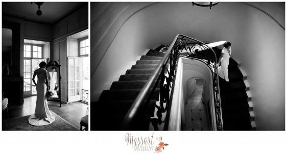 Black and white wedding pics of bride on her wedding day with Rhode Island photographers of Massart Photography RI MA CT