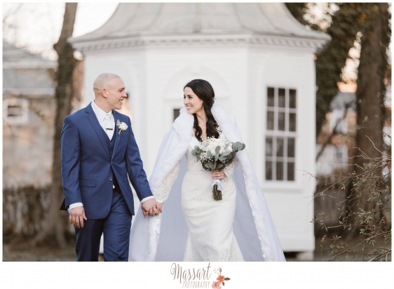 Outdoor wedding portrait of bride and groom at their winter wedding with Warwick Rhode Island photographers of Massart Photography RI MA CT