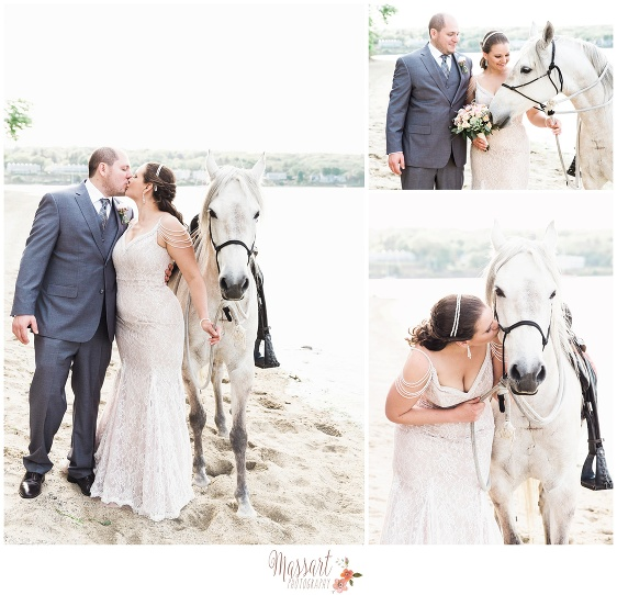 Bride and groom pose for pictures with a horse on the beach at Goddard Park photographed by Massart Photography RI MA CT