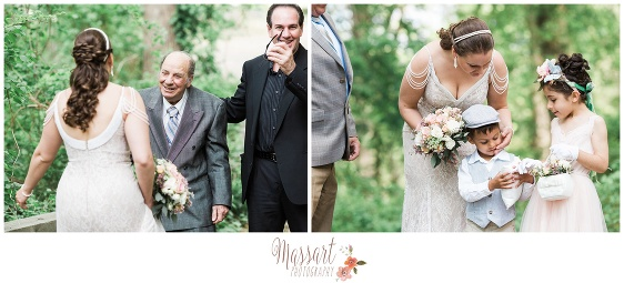 Pics of grandfather of the groom and bride with flower girl and ring bearer at Goddard Park wedding photographed by Massart Photography RI MA CT