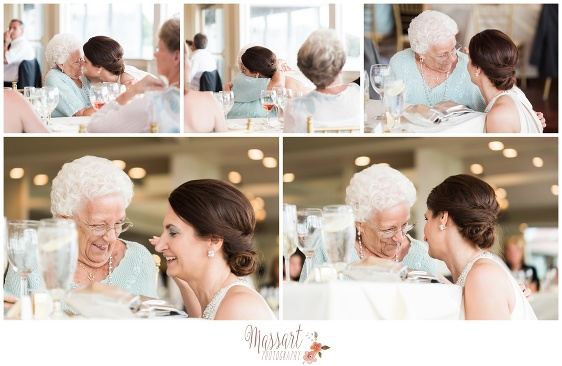 Pics of bride and grandmother at wedding reception at Oceancliff Resort in Newport Rhode Island photographed by Massart Photography RI MA CT