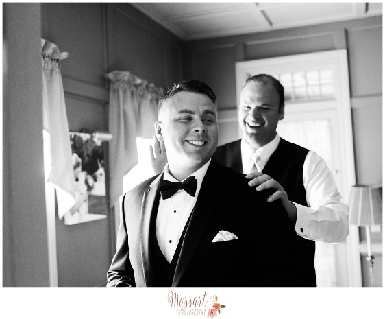 Black and white portrait of groom and groomsman photographed at Five Bridge Inn in Massachusetts by Rhode Island photographer of Massart Photography RI MA CT