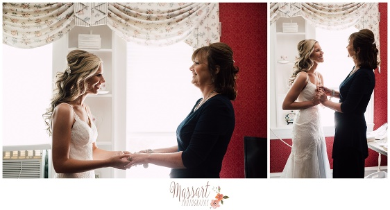 Pics of bride and mother of the bride at Five Bridge Inn in Massachusetts photographed by Massart Photography RI MA CT