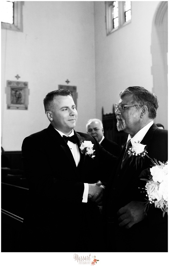 Black and white portrait of groom and father photographed by Massart Photography RI MA CT