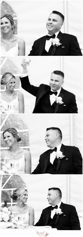 Black and white candid pics of bride and groom during wedding reception at Five Bridge Inn in Massachusetts photographed by Massart Photography of Rhode Island