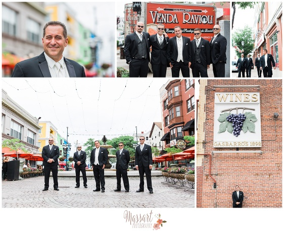 Pics of groom and groomsmen on Federal Hill in Providence Rhode Island before the wedding at Blithewold Mansion in Bristol RI photographed by Massart Photography of Warwick Rhode Island