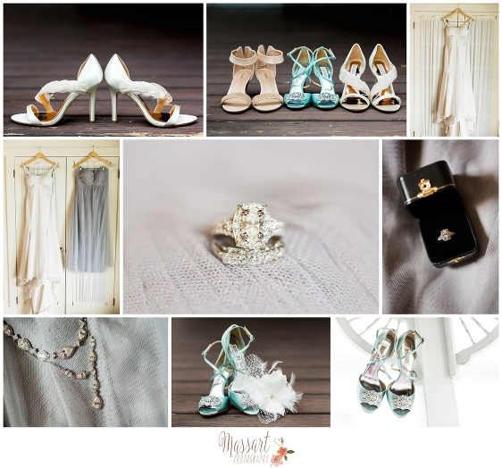 Wedding day details shoes, dresses and rings at Blithewold Mansion in Bristol Rhode Island photographed by Massart Photography RI MA CT
