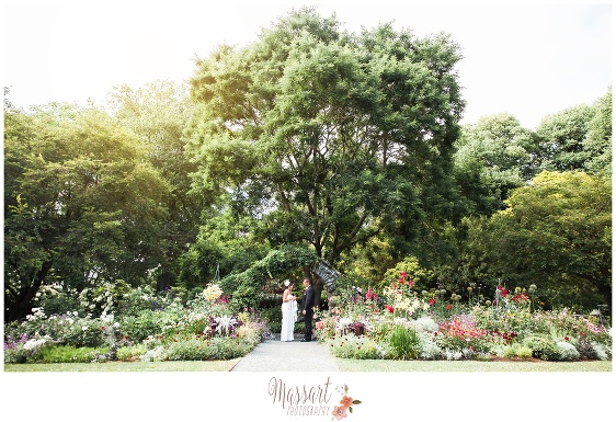 Outdoor garden portrait of bride and groom at Blithewold Mansion in Bristol Rhode Island photographed by Massart Photography of Warwick RI