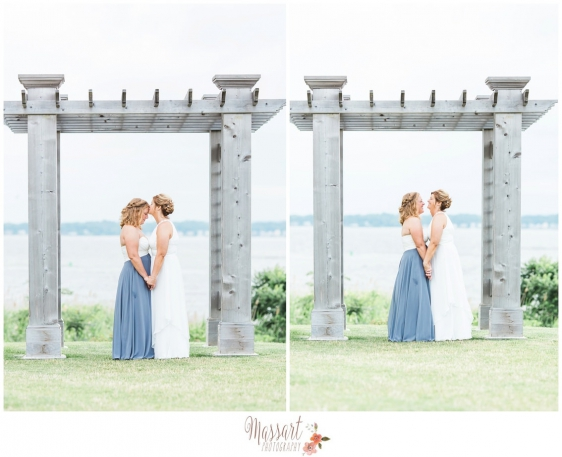 Wedding day waterfront brides portrait photographed by Massart Photography of Rhode Island