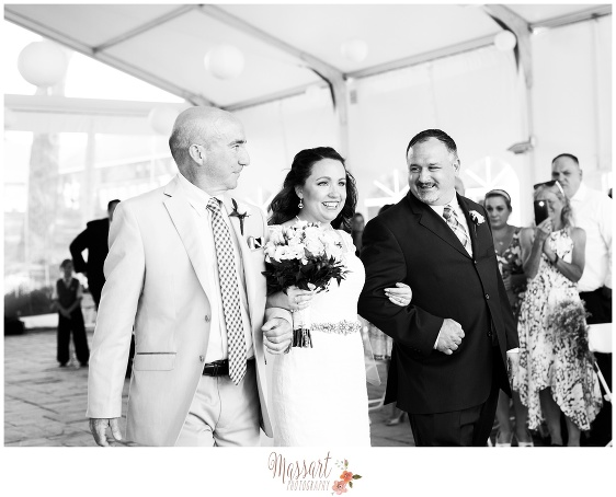 Black and white wedding day portrait of bride and family photographed by Massart Photography of Warwick Rhode Island