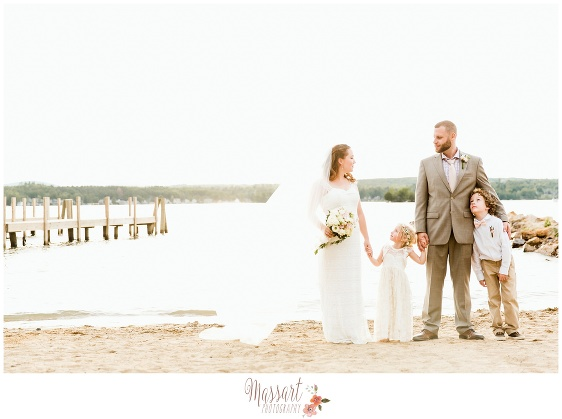 Outdoor beach portrait of bride groom and children photographed by Massart Photography RI MA CT