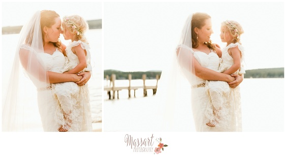 Outdoor beach pics of bride and flower girl taken by Rhode Island photographers of Massart Photography RI MA CT