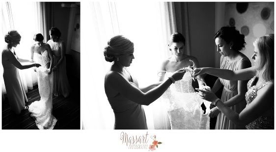 Black and white pics of bride and bridesmaids getting ready photographed by Massart Photography of Warwick Rhode Island