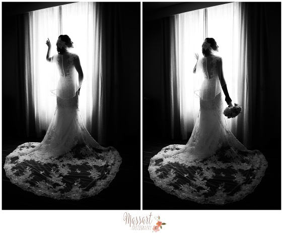 Black and white portraits of bride in her wedding dress in front of window taken by Rhode Island photographers of Massart Photography RI MA CT