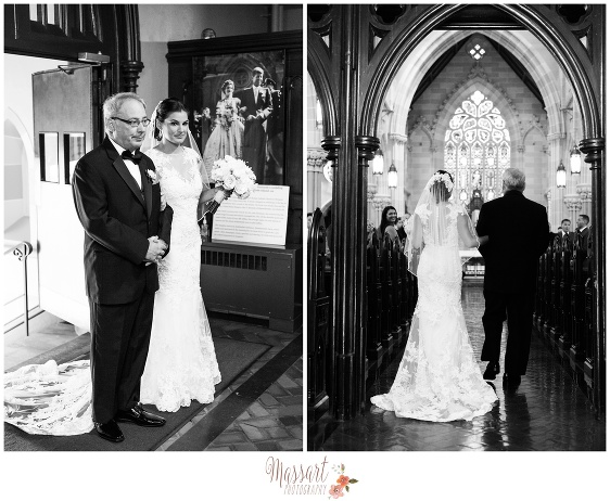 Black and white portrait of bride and father of the bride entering the church ceremony taken by Rhode Island photographers of Massart Photography RI MA CT