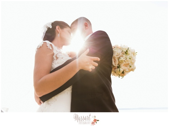 Wedding portrait of bride and groom in natural light taken by Rhode Island photographers of Massart Photography RI MA CT