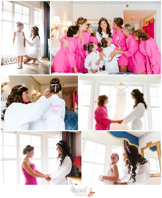 Pictures of bride and bridal party getting dressed photographed by Massart Photography of Warwick RI