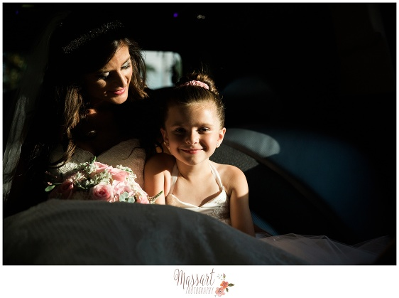 Bride and flower girl portrait photographed by Massart Photography of Warwick Rhode Island