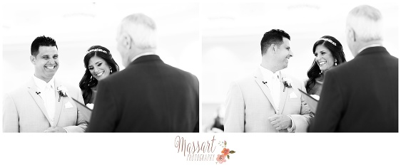 Black and white pics of bride and groom at alter with officiant photographed by Rhode Island photographers of Massart Photography RI MA CT