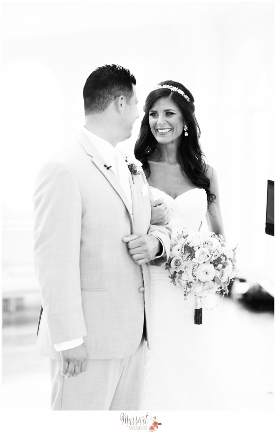 Black and white portrait of bride and groom photographed by Massart Photography of Rhode Island