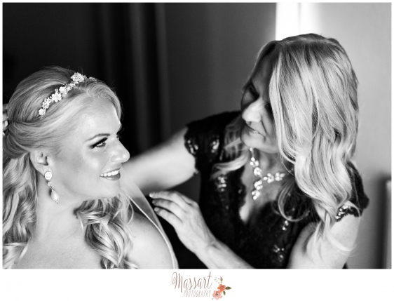 Black and white picture of bride and mother of the bride taken by Rhode Island photographer of Massart Photography RI MA CT
