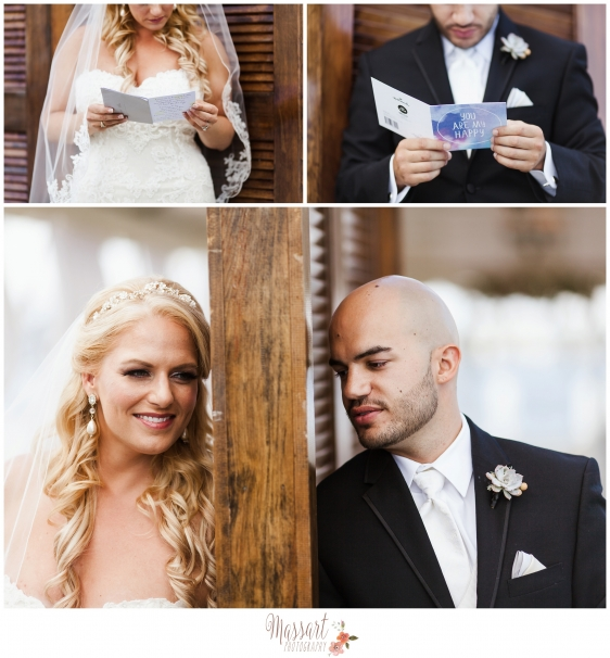 Photos of bride and groom reading cards before wedding photographed by Massart Photography of RI MA CT