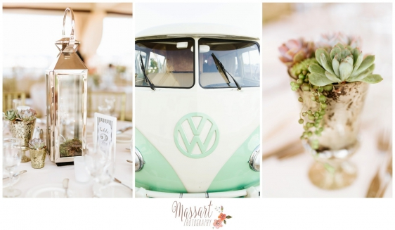 Vintage wedding details of flowers, lanterns and VW bus photographed by Rhode Island photographer of Massart Photography RI MA CT