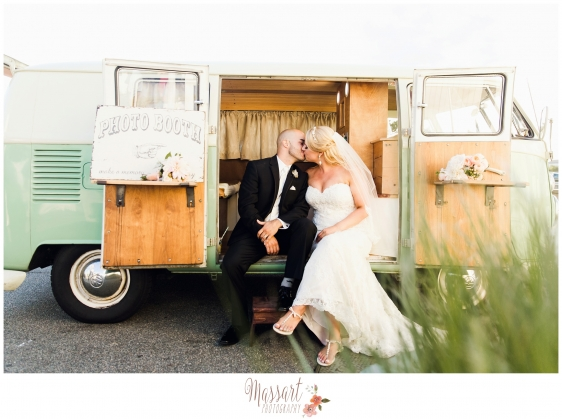 Bride and groom kissing in vintage VW bus photographed by Rhode Island photographer of Massart Photography RI MA CT