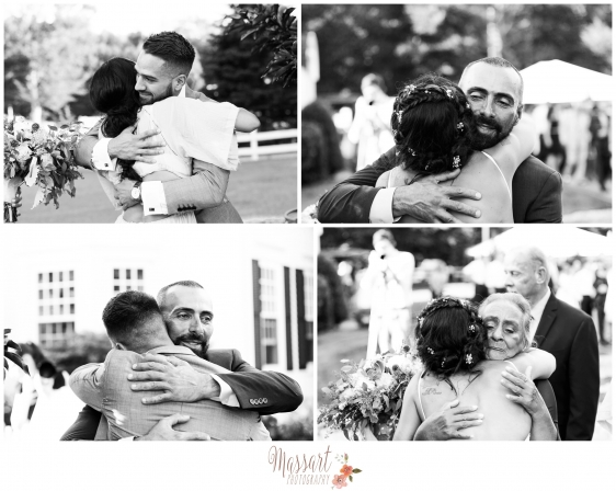 Black and white pictures of bride and groom with family taken by Massart Photography RI MA CT