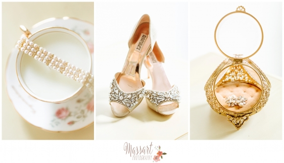 Pic of wedding day details: Badgley Mischka shoes, bracelet and wedding rings photographed by Warwick Rhode Island photographer of Massart Photography RI MA CT