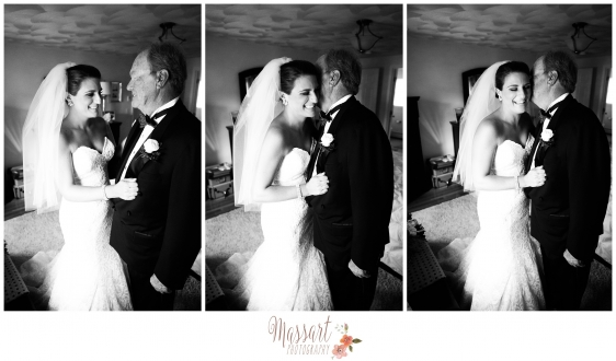 Black and white photos of brides and father of the bride during wedding by Massart Photography RI MA CT