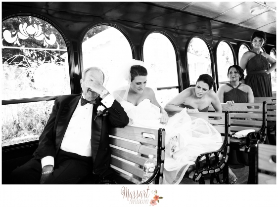 Wedding portrait of bridal party riding in trolley taken by Warwick Rhode Island based photographers of Massart Photography RI MA CT