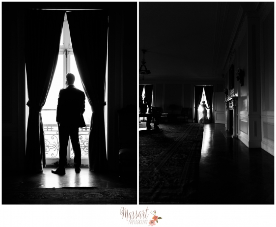 Black and white portraits of bride and groom in front of window photographed by Massart Photography RI MA CT