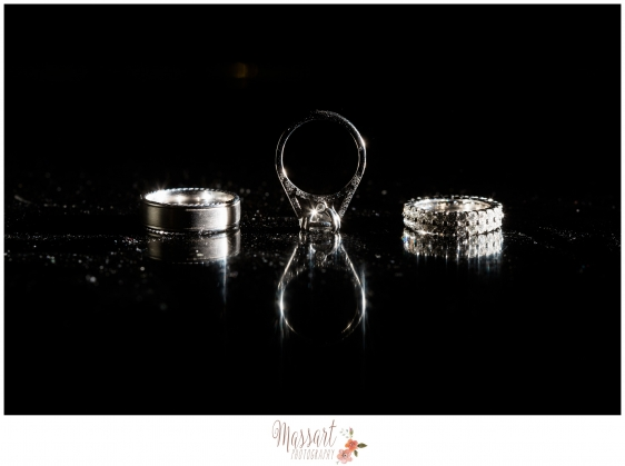 Black and white pic of engagement ring and wedding bands by Massart Photography RI MA CT