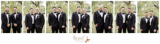 Wedding day formals of groom and groomsmen photographed by Warwick Rhode Island photographers of Massart Photography RI MA CT