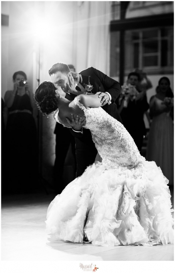 Ballroom first dance portrait of bride and groom dancing at their wedding reception at the Providence G on their wedding day photographed by Warwick Rhode Island photographers of Massart Photography RI MA CT