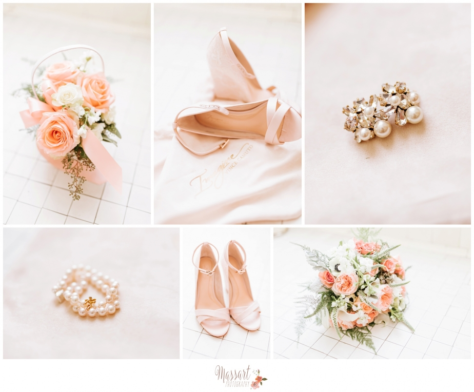 bridal shoes details bouquet ri